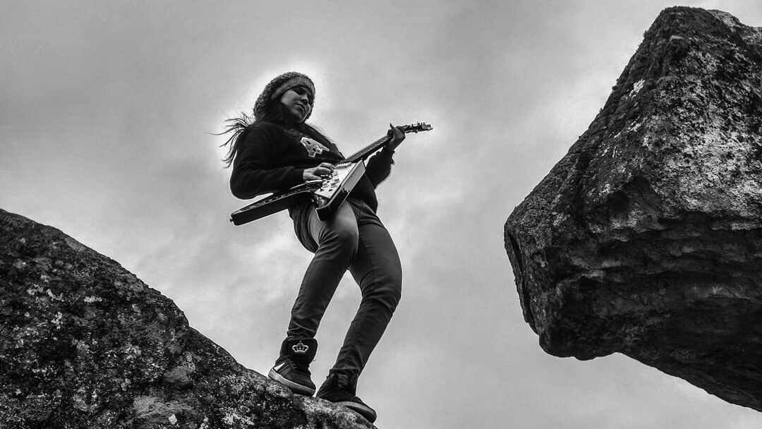 woman save electric guitar
